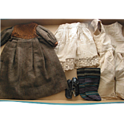 Old Brown Doll Dress, Shoes and Underwear