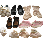 7 Pairs of Old Doll- Baby  Shoes and Booties