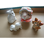 Lot of 4 Older China Cat Figures