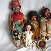 5 Indian Type Dolls