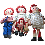 Six Raggedy Ann and Andy Dolls