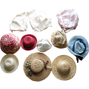 10 Old Doll Hats