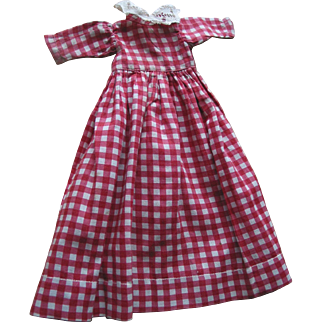Old Red & White Cotton Doll Dress