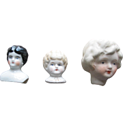 3  Small Old Bisque & China Doll Shoulderheads