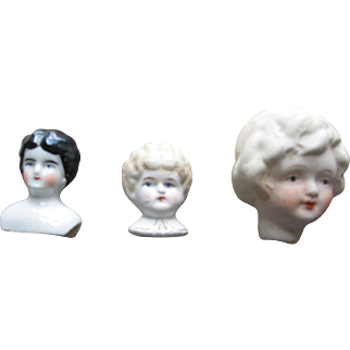 3 Old Bisque & China Doll Shoulderheads