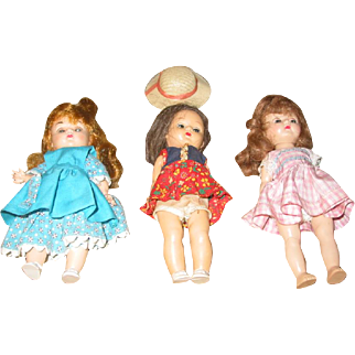 "Three   8"" Hard Plastic Dolls"