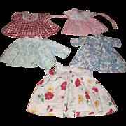5 Older Doll Dresses.