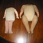 2 Old Cloth Doll Bodies - Composition arms