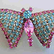 Vintage Quality Pink and Blue Rhinestone Butterfly Brooch