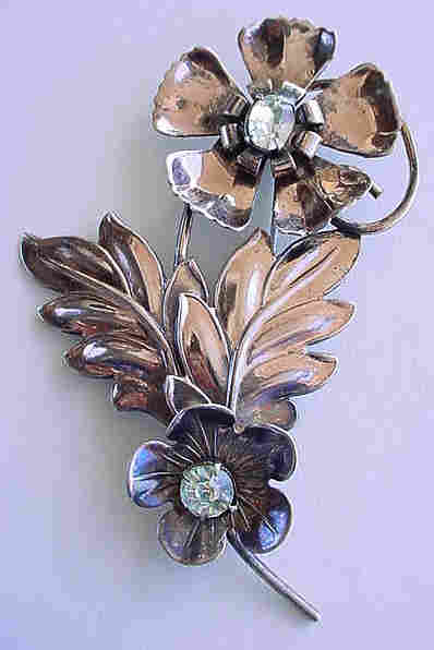 Large  Sterling Gold-wash Retro Flower Brooch