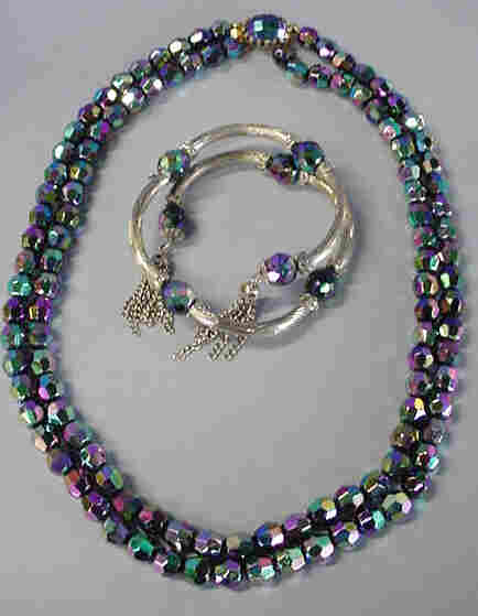 Aurora Borealis Purple and Navy Blue 18 Inch  Double Strand Glass Necklace and Bracelet