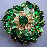 Vintage Golden Flower in Irish Meadow Brooch. Shades of Green
