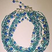 VINTAGE Shades of Green and Blue Graduated Choker Necklace