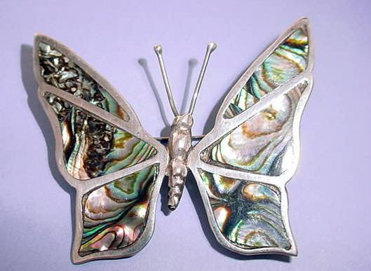 Made in Mexico Sterling Abalone Shell Butterfly Brooch