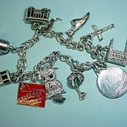STERLING Charm Bracelet with Many Sterling Charms Colorado!!