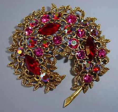 VINTAGE Emmons Red Bright Red Fantasy Brooch.