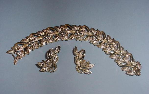 Famous Coro Gold-tone leaf Bracelet and Earrings