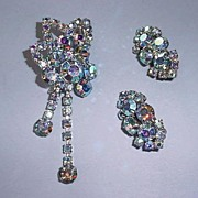 Vintage Aurora Borealis Moonrise Brooch and Earrings! STUNNING FRACTURED LIGHT!!
