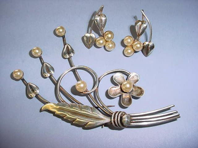 VINTAGE Art Deco Sterling Brooch and Earrings Sterling and Pearls! Classic!
