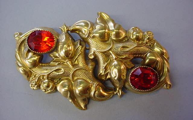 VINTAGE Sash Brooch  Bright Gilt-color and Orange Sets