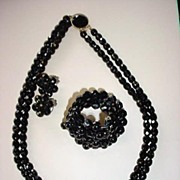 VINTAGE Black Glass Faceted Parure Necklace Bracelet and Earrings