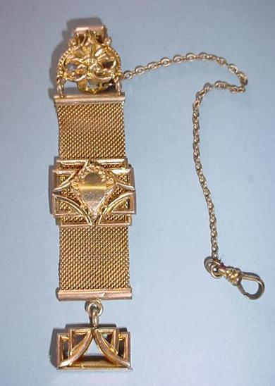 VINTAGE Fancy Gentleman's Watch Chain and Fob Bright Gold Filled