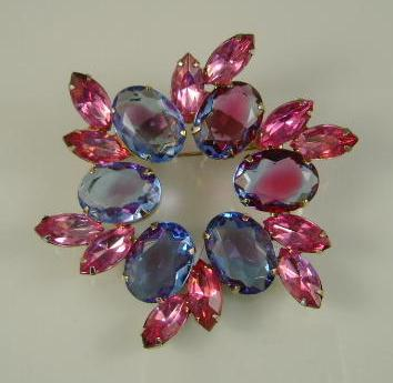 UNSIGNED Beauty of Pink and Blue Brooch Large!