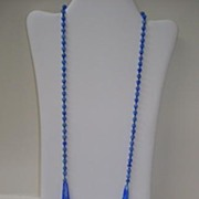 VINTAGE Bugle Beads Flapper Necklace Blue Slag Glass