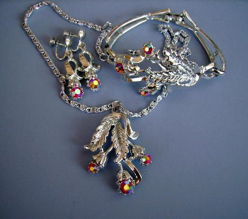 VINTAGE  Germany Three Piece Set of Silvery Jewelry with a Hot Pink Rhinestone
