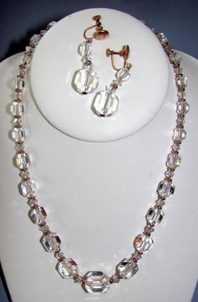 VINTAGE Cut Glass Faceted Beaded Necklace and Earring