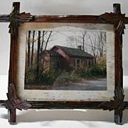VICTORIAN Carved Walnut Frame with Birch Matting!