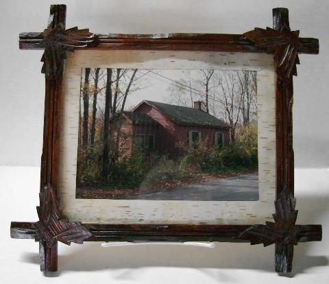VICTORIAN Carved Walnut Frame with Birch Matting!