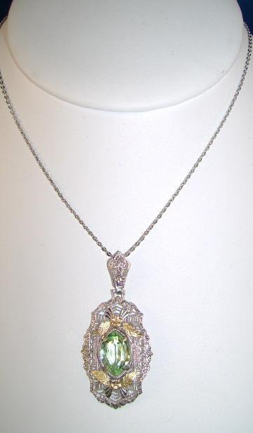Vintage Unsigned Filigree Old Fashion Pendant with Greenish Stone.