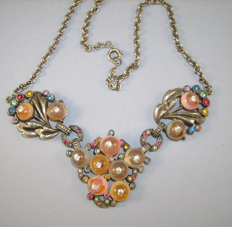 VINTAGE  Round Lucite Fruit with Rhinestone center Necklace