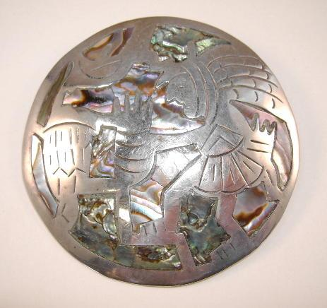 VINTAGE Mexican Sterling Silver Pendant, Brooch  Signed 2 1/2 Inch Circle