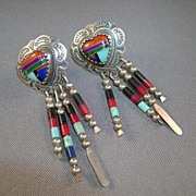 ZUNI Inlaid Gem-stones Sterling Signed Earrings,