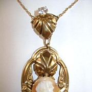 VICTORIAN Shell Cameo Necklace Long lovely Chain
