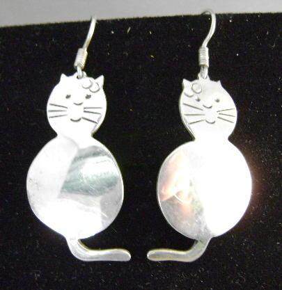 STERLING Mexican Earrings Sitting Cats Signed