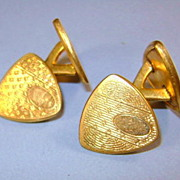 VINTAGE Cuff-Links Simple Classic Striped Shield Very Simple