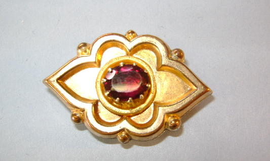 VICTORIAN Watch Holder with Garnet Colored Gem