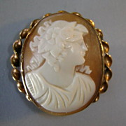 Very Old Hand-Carved Shell Cameo Roman Maiden
