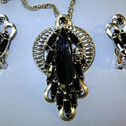 VINTAGE Black Navette Pendant and Clip Earrings