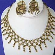 VINTAGE Belly-Dancer's Special Swinging Different Necklace and Earrings