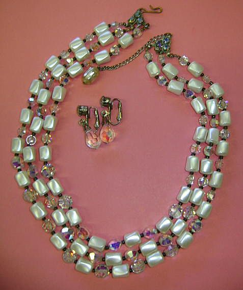 VINTAGE Three Strand Pearl Beads and Crystal Necklace with Earrings