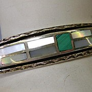 VINTAGE Zuni Inlay Bracelet with Mother of Pearl and Turquoise SMALL