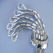 VINTAGE Crystal Brooch with Clear Rhinestones Dazzling!