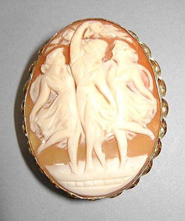 VINTAGE Vandell Shell Cameo 1/20 Gold-Filled The Three Graces