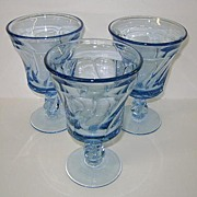 VINTAGE Two Fostoria Jamestown Blue Water Goblets Perfect