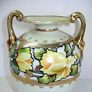 VINTAGE Nippon 5 Inch Handled Vase with Gold Beads and Yellow Roses.