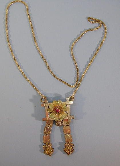 VICTORIAN Necklace with Open Pansy in Frame and Book Chain Ends